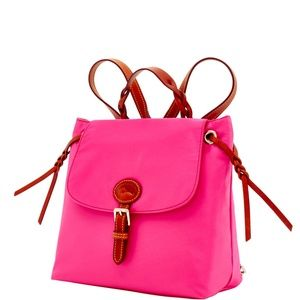 Dooney & Bourke Nylon Flap Fuchsia Backpack